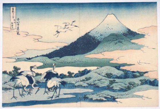 Monte Fuji y grullas
